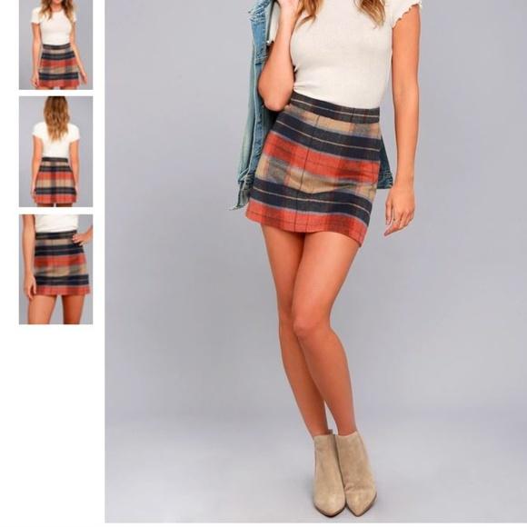 Lulu's Dresses & Skirts - 💙Lulu's MAD FOR PLAID BEIGE PLAID MINI SKIRT